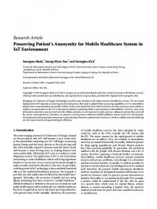 Preserving Patient's Anonymity for Mobile Healthcare ... - SAGE Journals