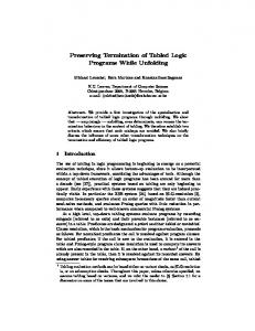 Preserving Termination of Tabled Logic Programs While ... - move!