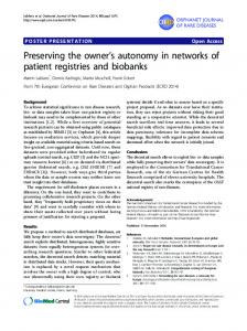 Preserving the owner's autonomy in networks of patient ... - CiteSeerX