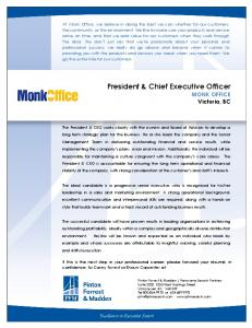 President & Chief Executive Officer - PFM Executive Search