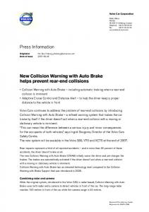 Press Information New Collision Warning with Auto Brake helps ...