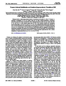 Pressure-Induced Stabilization and Insulator ... - Semantic Scholar
