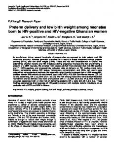 Preterm delivery and low birth weight among neonates ... - CiteSeerX
