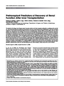 Pretransplant predictors of recovery of renal ... - Wiley Online Library