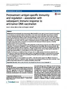 Pretreatment antigen-specific immunity and regulation - Journal for ...