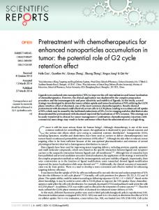 Pretreatment with chemotherapeutics for enhanced nanoparticles ...