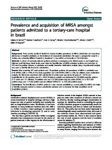 Prevalence and acquisition of MRSA amongst ... - BioMedSearch