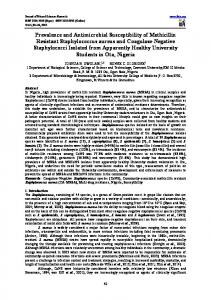 Prevalence and Antimicrobial Susceptibility of Methicillin Resistant ...