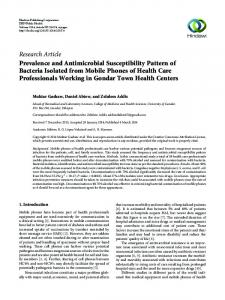 Prevalence and Antimicrobial Susceptibility Pattern of Bacteria ...