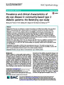 Prevalence and clinical characteristics of dry eye disease in ...