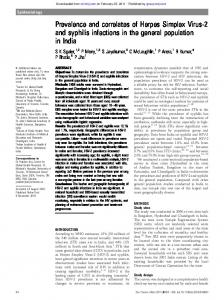 Prevalence and correlates of Herpes Simplex Virus-2 and syphilis ...