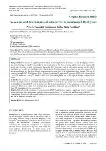 Prevalence and determinants of osteoporosis in women ... - eJManager