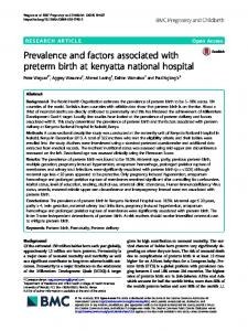 Prevalence and factors associated with preterm birth at kenyatta ...