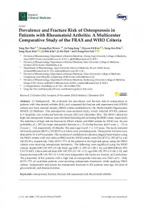 Prevalence and Fracture Risk of Osteoporosis in Patients with ... - MDPI