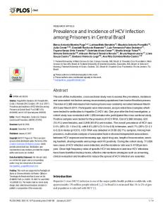 Prevalence and Incidence of HCV Infection among Prisoners ... - PLOS