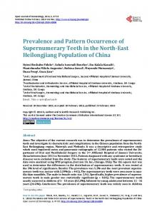 Prevalence and Pattern Occurrence of Supernumerary Teeth in the ...