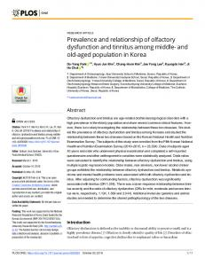 Prevalence and relationship of olfactory dysfunction and tinnitus ... - Plos