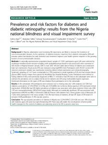 Prevalence and risk factors for diabetes and diabetic retinopathy ...