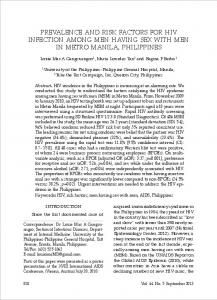 prevalence and risk factors for hiv infection among men ... - ThaiScience