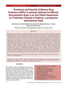Prevalence and Severity of Adverse Drug Reactions (ADRs) in