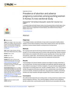 Prevalence of abortion and adverse pregnancy outcomes ... - PLOS