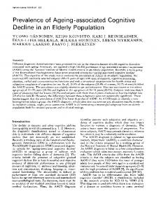 Prevalence of Ageing-associated Cognitive Decline in