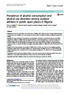 Prevalence of alcohol consumption and alcohol use ...