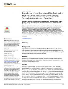 Prevalence of and Associated Risk Factors for High Risk Human ...