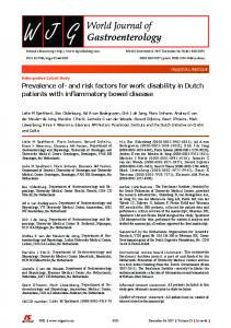 Prevalence of-and risk factors for work disability in Dutch patients with ...
