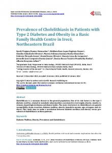 Prevalence of Cholelithiasis in Patients with Type 2 Diabetes Mellitus ...