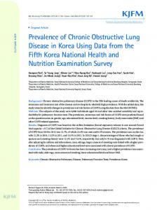 Prevalence of Chronic Obstructive Lung Disease in Korea Using Data ...