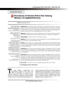 Prevalence of Chronic Pelvic Pain Among Women - Pain Physician