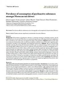 Prevalence of consumption of psychoactive ...