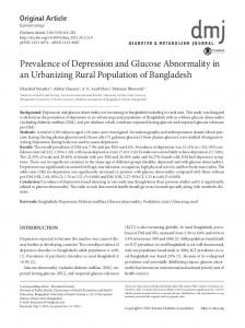 Prevalence of Depression and Glucose ... - KoreaMed Synapse