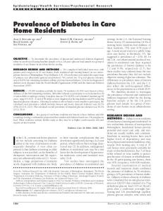 Prevalence of Diabetes in Care Home Residents