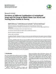 Prevalence of Different Combinations of Antiepileptic Drugs and CNS ...