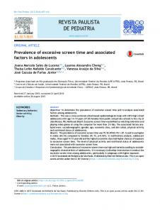 Prevalence of excessive screen time and associated factors ... - SciELO