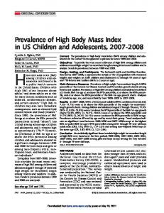 Prevalence of High Body Mass Index in US Children ...