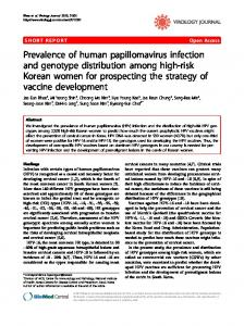Prevalence of human papillomavirus infection and ... - BioMedSearch