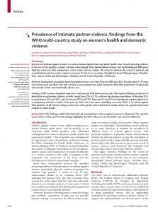 Prevalence of intimate partner violence: findings from the WHO multi