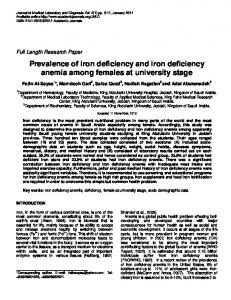 Prevalence of iron deficiency and iron deficiency anemia among ...