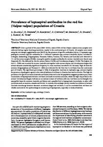 Prevalence of leptospiral antibodies in the red fox (Vulpes vulpes ...