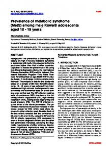Prevalence of metabolic syndrome (MetS) among male Kuwaiti ...