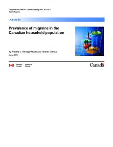Prevalence of migraine in the Canadian household ... - Statistics Canada