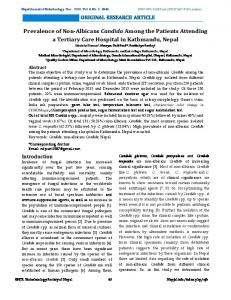 Prevalence of Non-Albicans Candida Among the