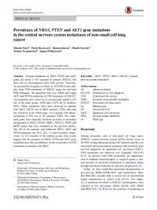 Prevalence of NRAS, PTEN and AKT1 gene mutations in the central ...