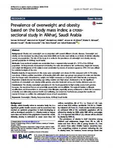 Prevalence of overweight and obesity based on the body mass index ...