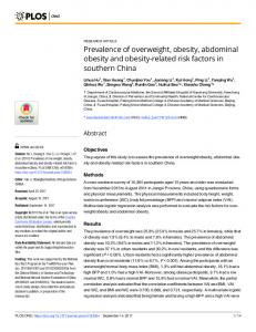 Prevalence of overweight, obesity, abdominal obesity and ... - PLOS