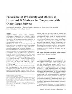 Prevalence of Pre-obesity and Obesity in Urban Adult ...