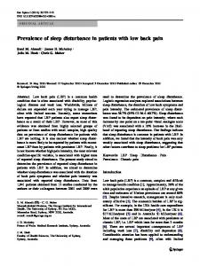 Prevalence of sleep disturbance in patients with low ... - Body in Mind